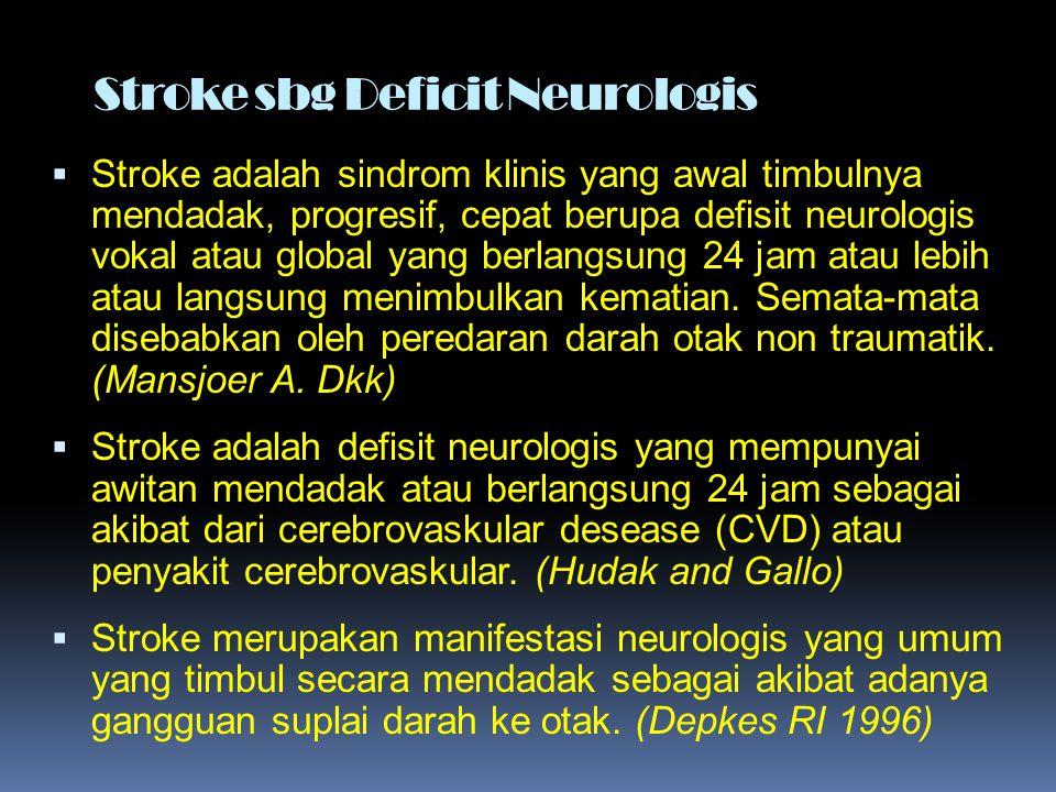Stroke sbg Deficit Neurologis  Stroke adalah sindrom klinis yang awal timbulnya mendadak, progresif, cepat berupa defisit neurologis vokal atau globa