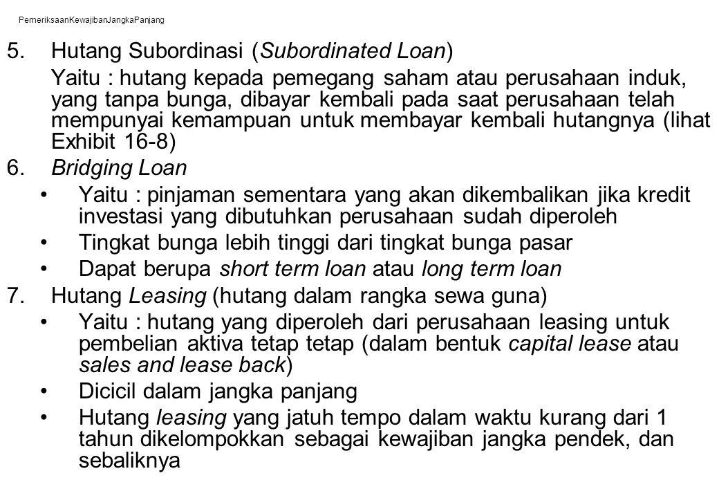 PemeriksaanKewajibanJangkaPanjang 5. Hutang Subordinasi (Subordinated Loan) Yaitu : hutang kepada pemegang saham atau perusahaan induk, yang tanpa bun