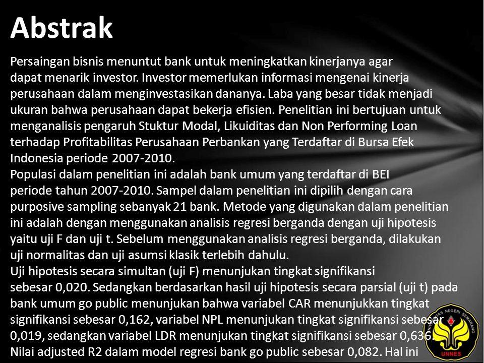 Abstrak Persaingan bisnis menuntut bank untuk meningkatkan kinerjanya agar dapat menarik investor.