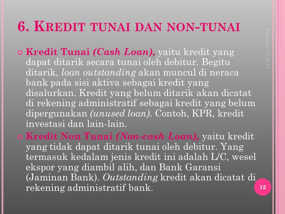6. K REDIT TUNAI DAN NON - TUNAI Kredit Tunai (Cash Loan), yaitu kredit yang dapat ditarik secara tunai oleh debitur. Begitu ditarik, loan outstanding