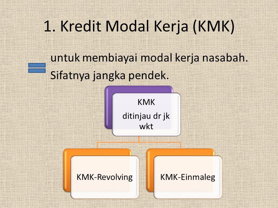 2.Kredit Investasi Untuk pengadaan barang modal.