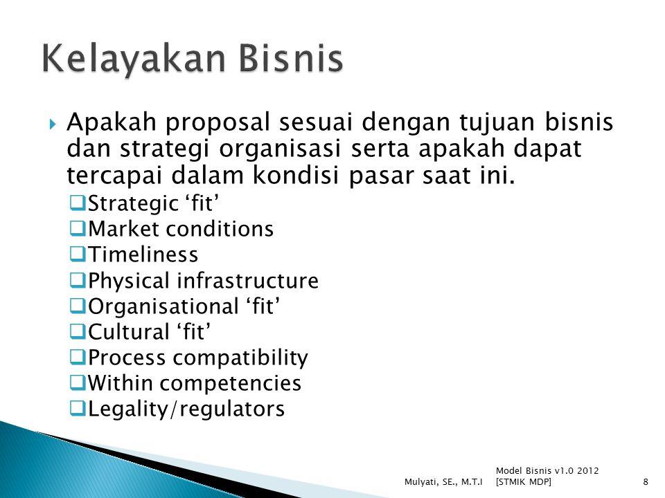  Apakah proposal sesuai dengan tujuan bisnis dan strategi organisasi serta apakah dapat tercapai dalam kondisi pasar saat ini.