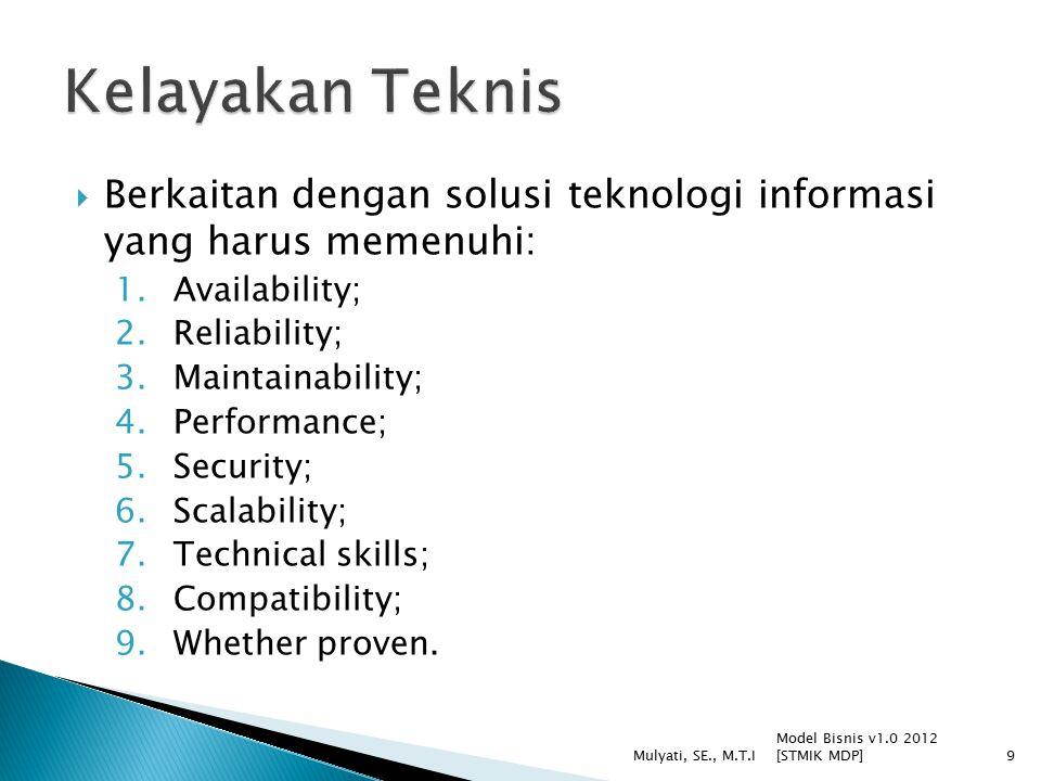  Berkaitan dengan solusi teknologi informasi yang harus memenuhi: 1.Availability; 2.Reliability; 3.Maintainability; 4.Performance; 5.Security; 6.Scalability; 7.Technical skills; 8.Compatibility; 9.Whether proven.
