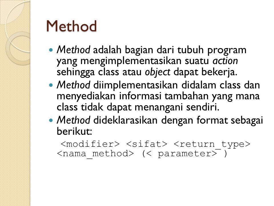 Modifier Modifier adalah keyword yang digunakan untuk menspesifikasi deklarasi pengaksesan suatu member atau tipe.