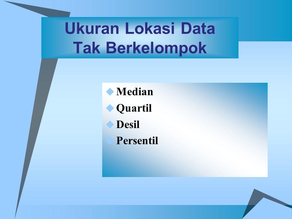 C ontoh S oal : S S ebuah Penelitian yang bertujuan untuk mengetahui jumlah jam kerja dalam seminggu pada suatu daerah Jumlah jam kerja / Minggu Persentase 0 - 9 10 - 19 20 - 29 30 - 39 40 - 49 50 - 59 60 - 69 2 6 22 27 13 15 5  Berapa besarnya median dari data jumlah jam kerja.