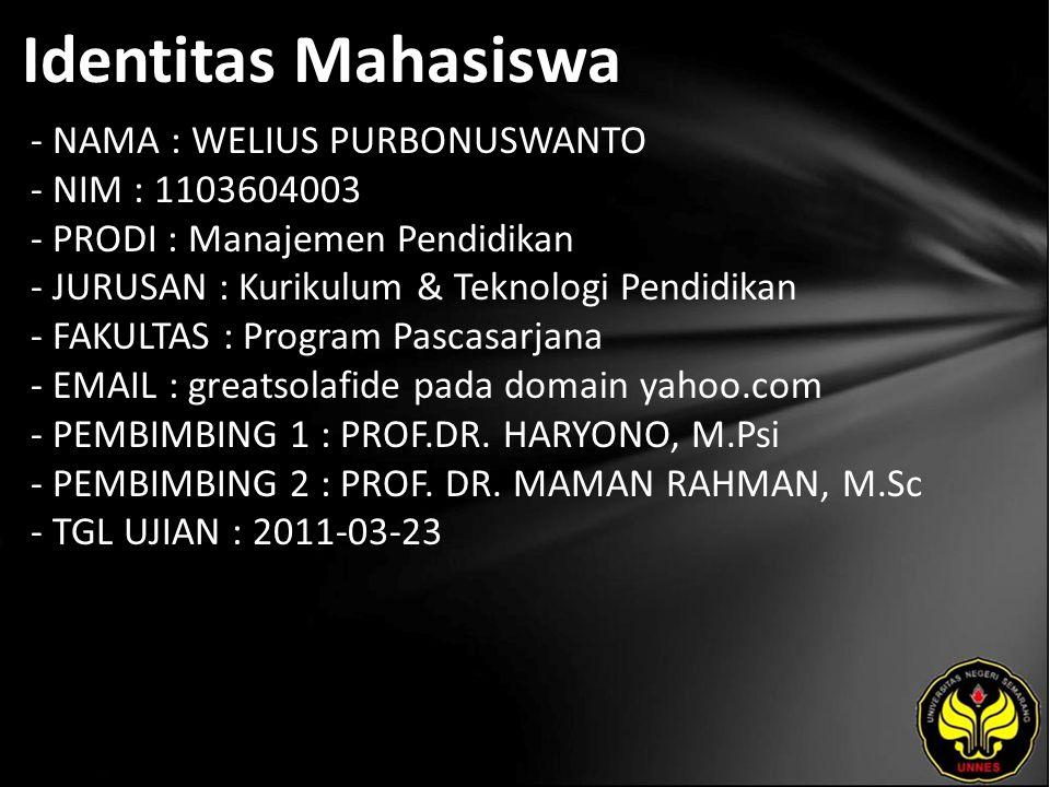 Identitas Mahasiswa - NAMA : WELIUS PURBONUSWANTO - NIM : 1103604003 - PRODI : Manajemen Pendidikan - JURUSAN : Kurikulum & Teknologi Pendidikan - FAK