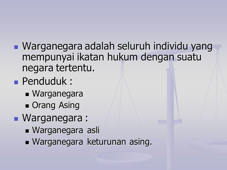 Warganegara adalah seluruh individu yang mempunyai ikatan hukum dengan suatu negara tertentu. Warganegara adalah seluruh individu yang mempunyai ikata