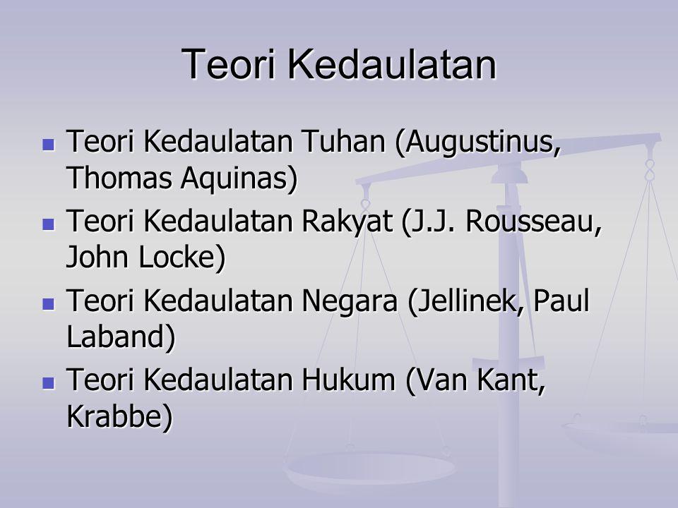 Teori Kedaulatan Teori Kedaulatan Tuhan (Augustinus, Thomas Aquinas) Teori Kedaulatan Tuhan (Augustinus, Thomas Aquinas) Teori Kedaulatan Rakyat (J.J.