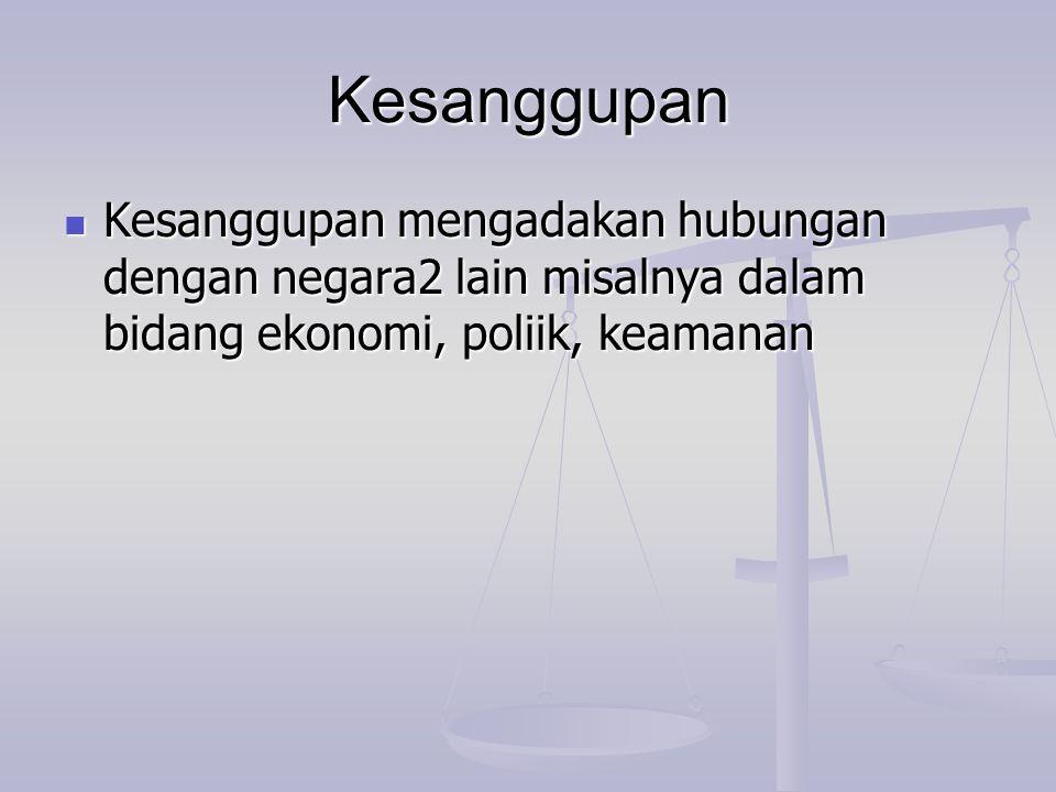 Kesanggupan Kesanggupan mengadakan hubungan dengan negara2 lain misalnya dalam bidang ekonomi, poliik, keamanan Kesanggupan mengadakan hubungan dengan