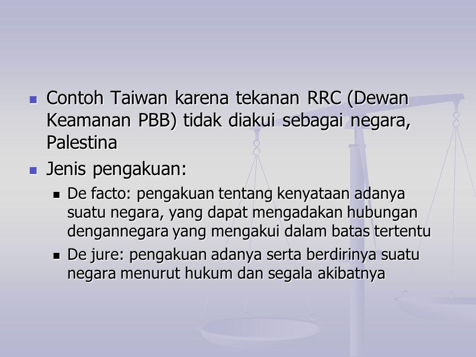 Contoh Taiwan karena tekanan RRC (Dewan Keamanan PBB) tidak diakui sebagai negara, Palestina Contoh Taiwan karena tekanan RRC (Dewan Keamanan PBB) tid