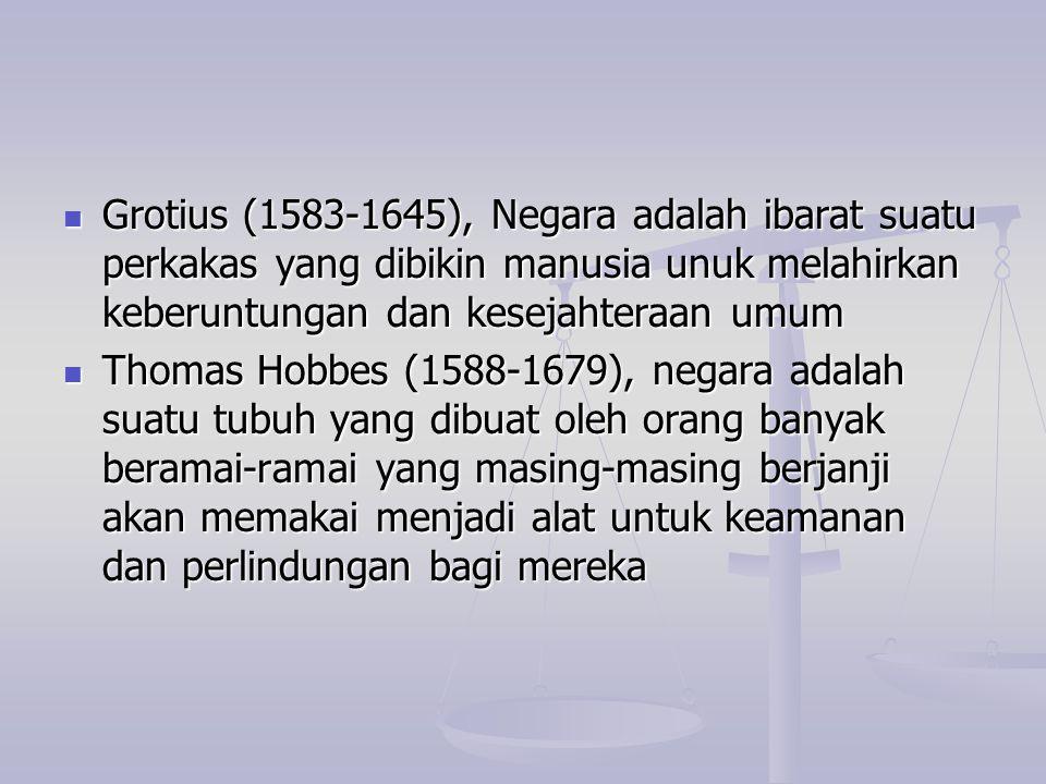 Grotius (1583-1645), Negara adalah ibarat suatu perkakas yang dibikin manusia unuk melahirkan keberuntungan dan kesejahteraan umum Grotius (1583-1645)