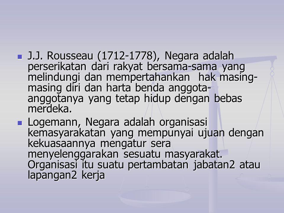 J.J. Rousseau (1712-1778), Negara adalah perserikatan dari rakyat bersama-sama yang melindungi dan mempertahankan hak masing- masing diri dan harta be
