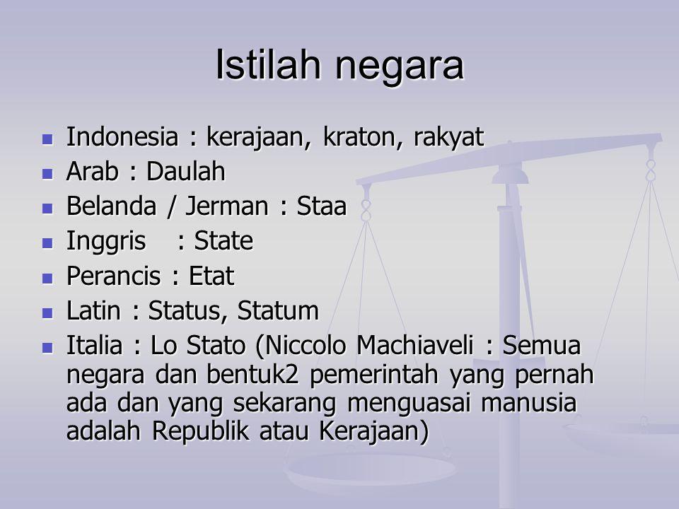 Istilah negara Indonesia : kerajaan, kraton, rakyat Indonesia : kerajaan, kraton, rakyat Arab : Daulah Arab : Daulah Belanda / Jerman : Staa Belanda /