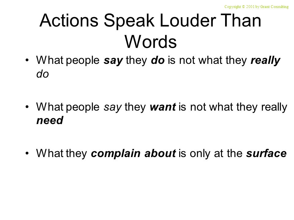 Actions Speak Louder Than Words What people say they do is not what they really do What people say they want is not what they really need What they complain about is only at the surface Copyright © 2001 by Grant Consulting