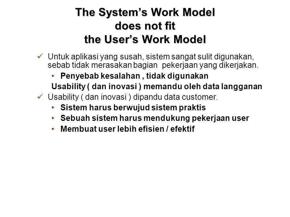 The System's Work Model does not fit the User's Work Model Untuk aplikasi yang susah, sistem sangat sulit digunakan, sebab tidak merasakan bagian pekerjaan yang dikerjakan.