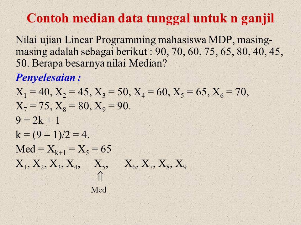 Untuk n ganjil : kalau k adalah suatu bilangan konstan dan n ganjil, maka selalu dapat ditulis n = 2k + 1 atau k = ½(n – 1) Misalnya: n = 7  7 = 2k + 1 2k = 7 – 1 = 6 k = 6/2 = 3 n = 9  9 = 2k + 1 2k = 9 – 1 = 8 k = 8/2 = 4 Kelompok nilai X 1, X 2, …,X k-1, X k, X k+1, …, X n  terkecil terbesar Median = X k+1 atau nilai yang ke (k + 1)