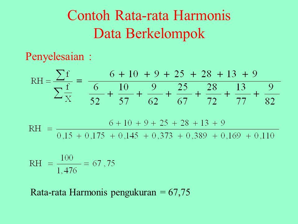 Contoh Rata-rata Harmonis Data Berkelompok Tentukan rata-rata harmonis dari distribusi frekuensi pada tebel dibawah ini!. PengukuranfXf/X 50 – 546520,