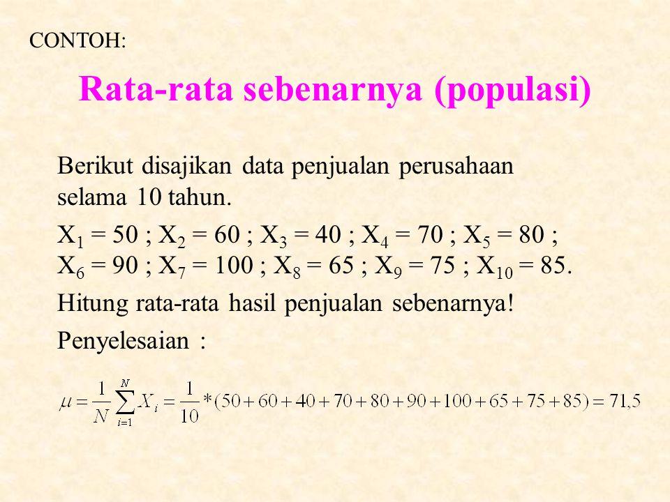 Rata-rata sebenarnya (populasi)  = 1N1N  Xi = 1n1n ( X1 + X2 + …. + X n ) = 1n1n  Xi = 1N1N ( X1 + X2 + …. + XN ) _X_X Rata-rata Perkiraan (sampel)