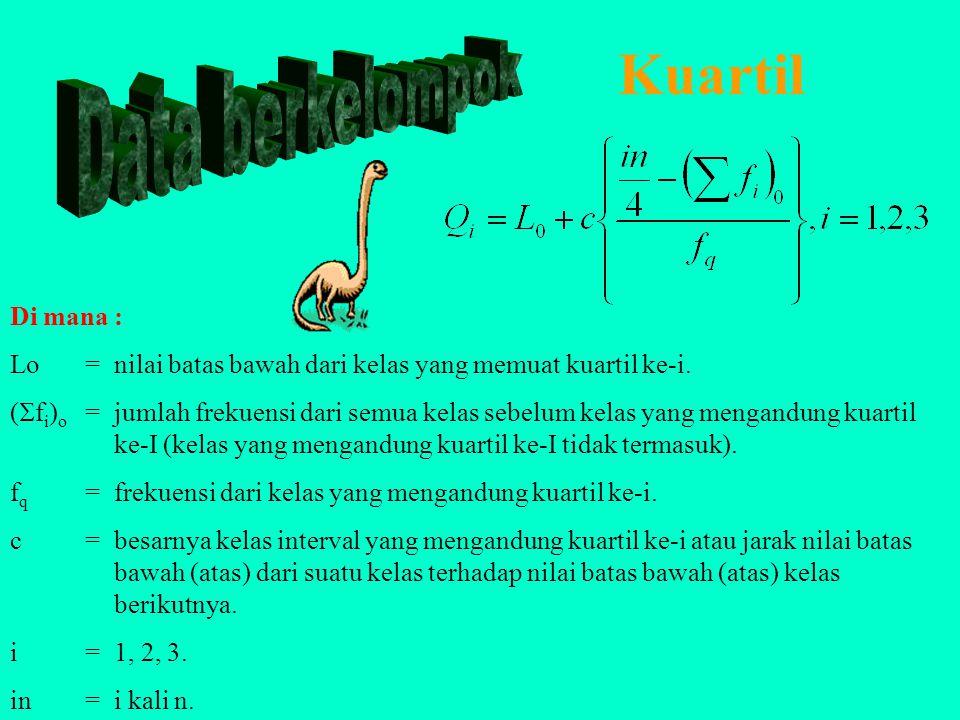Contoh Kuartil, Desil dan Persentil Data Tidak Berkelompok Penyelesaian : X 1 = 30, X 2 = 35, X 3 = 40, X 4 = 45, X 5 = 50, X 6 = 55, X 7 = 60, X 8 =