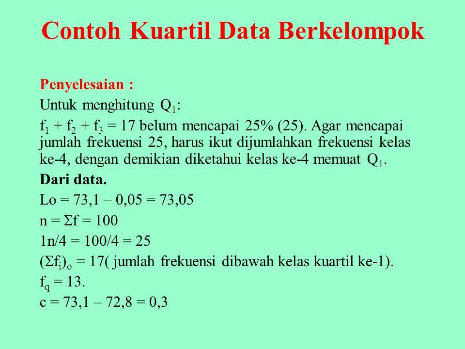 Contoh Kuartil, Desil, dan Persentil Data Berkelompok Berdasarkan data beriku, hitunglah Q 1, Q 3, D 6, dan P 50 ! Nilai Kelasf 72,2 – 72,42 72,5 – 72