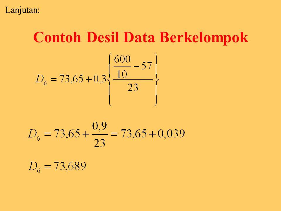 Contoh Desil Data Berkelompok Penyelesaian : Untuk menghitung D 6 : f 1 + f 2 + f 3 + f 4 + f 5 = 57 belum mencapai 60% (60). Agar mencapai jumlah fre