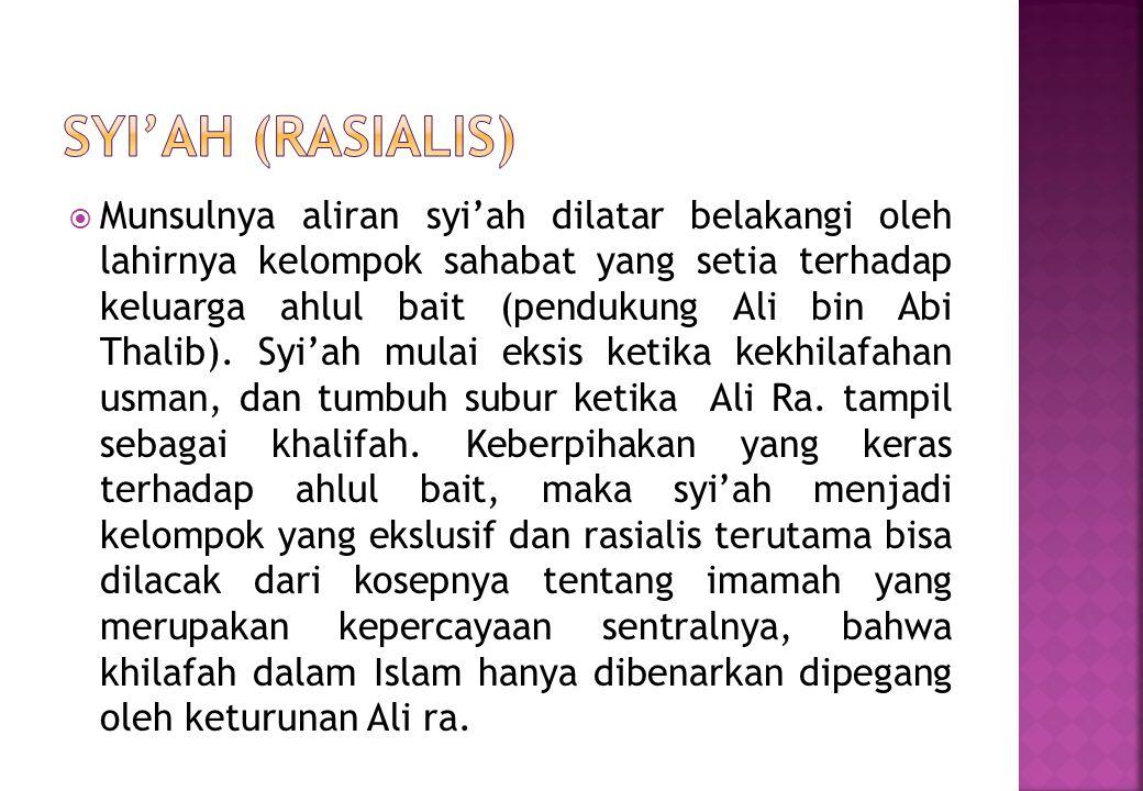  Munsulnya aliran syi'ah dilatar belakangi oleh lahirnya kelompok sahabat yang setia terhadap keluarga ahlul bait (pendukung Ali bin Abi Thalib).