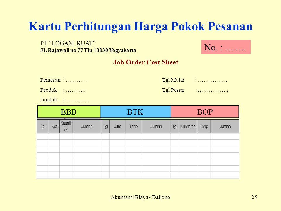 """Akuntansi Biaya - Daljono25 Kartu Perhitungan Harga Pokok Pesanan PT """"LOGAM KUAT"""" JL Rajawali no 77 Tlp 13030 Yogyakarta Job Order Cost Sheet Pemesan"""