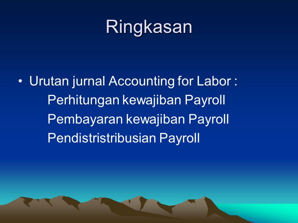 Ringkasan Urutan jurnal Accounting for Labor : Perhitungan kewajiban Payroll Pembayaran kewajiban Payroll Pendistristribusian Payroll