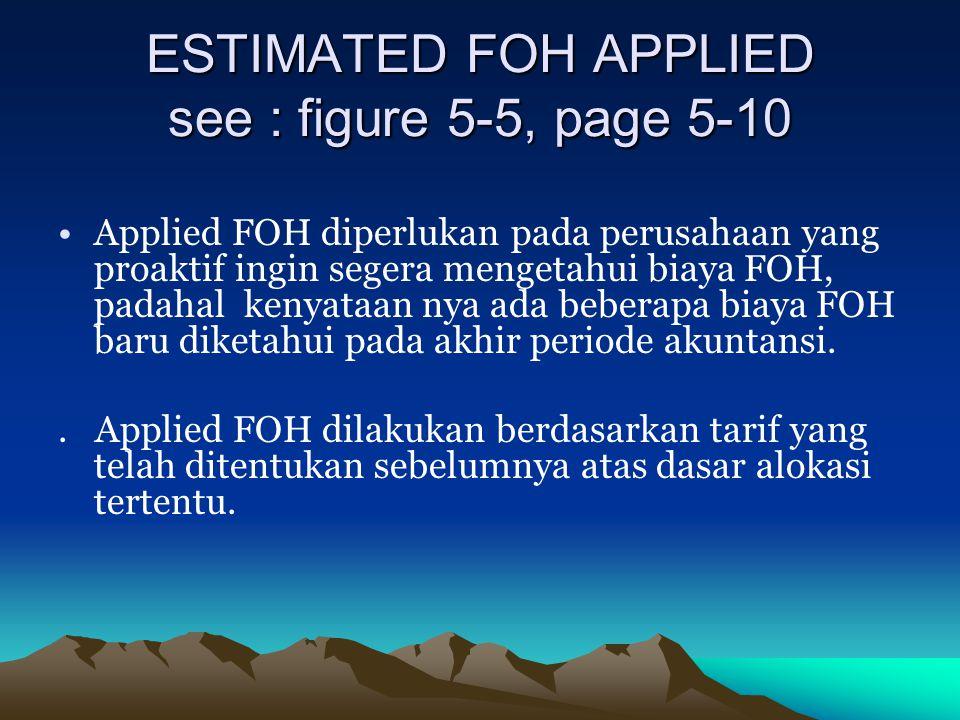 ESTIMATED FOH APPLIED see : figure 5-5, page 5-10 Applied FOH diperlukan pada perusahaan yang proaktif ingin segera mengetahui biaya FOH, padahal keny