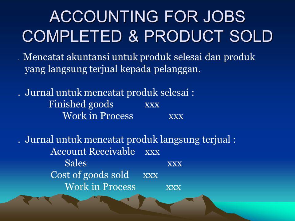 ACCOUNTING FOR JOBS COMPLETED & PRODUCT SOLD. Mencatat akuntansi untuk produk selesai dan produk yang langsung terjual kepada pelanggan.. Jurnal untuk