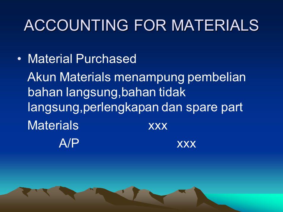 ACCOUNTING FOR MATERIALS Material Purchased Akun Materials menampung pembelian bahan langsung,bahan tidak langsung,perlengkapan dan spare part Materia