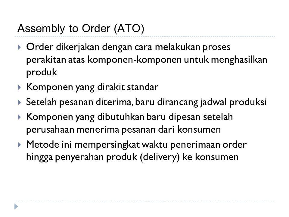 Assembly to Order (ATO)  Order dikerjakan dengan cara melakukan proses perakitan atas komponen-komponen untuk menghasilkan produk  Komponen yang dir