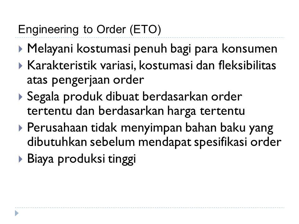 Engineering to Order (ETO)  Melayani kostumasi penuh bagi para konsumen  Karakteristik variasi, kostumasi dan fleksibilitas atas pengerjaan order 