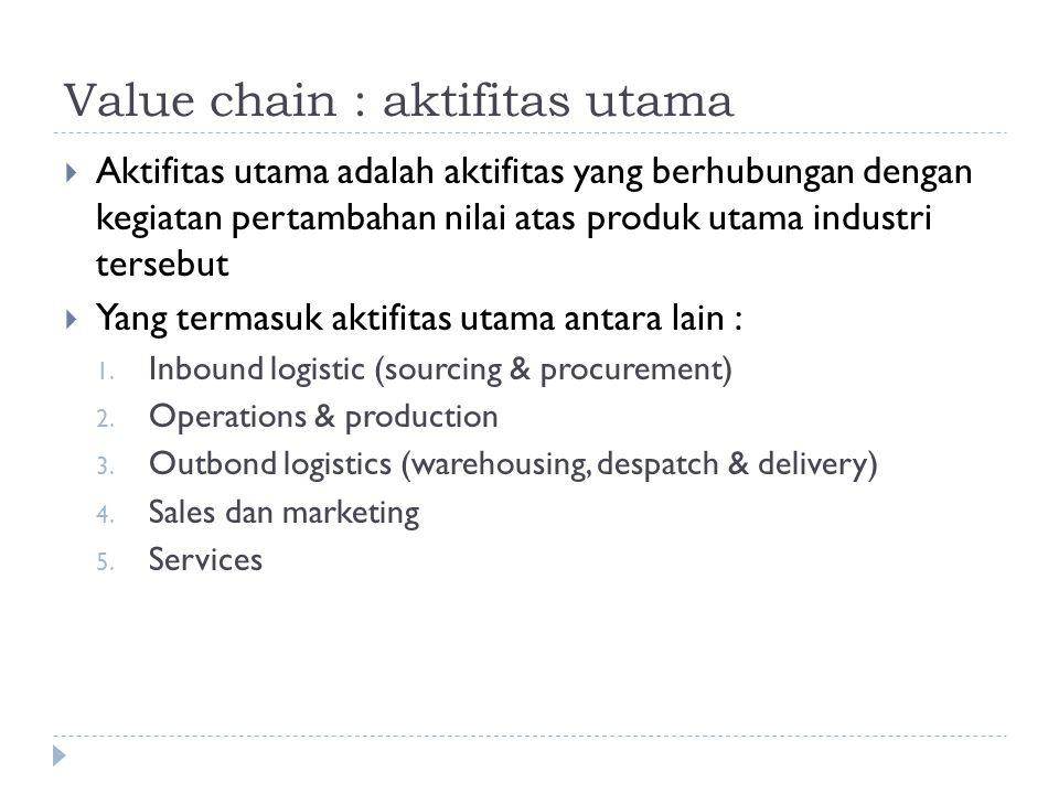 Value chain : aktifitas utama  Aktifitas utama adalah aktifitas yang berhubungan dengan kegiatan pertambahan nilai atas produk utama industri tersebu
