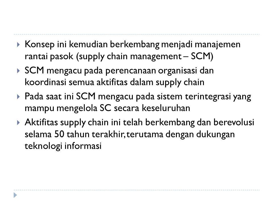  Konsep ini kemudian berkembang menjadi manajemen rantai pasok (supply chain management – SCM)  SCM mengacu pada perencanaan organisasi dan koordina