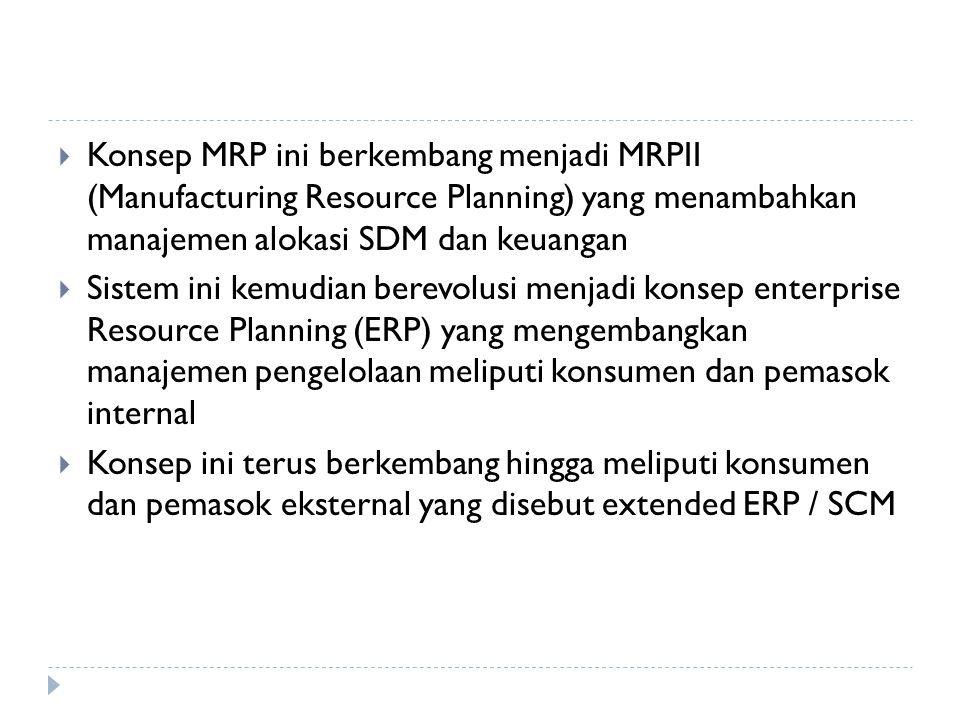  Konsep MRP ini berkembang menjadi MRPII (Manufacturing Resource Planning) yang menambahkan manajemen alokasi SDM dan keuangan  Sistem ini kemudian