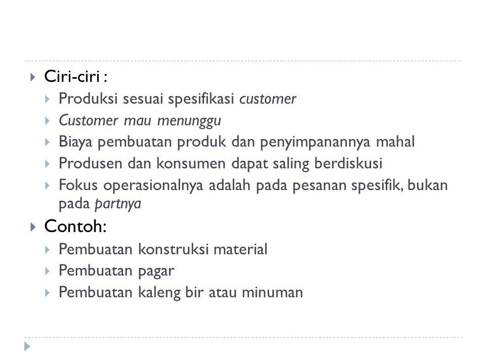 Ciri-ciri :  Produksi sesuai spesifikasi customer  Customer mau menunggu  Biaya pembuatan produk dan penyimpanannya mahal  Produsen dan konsumen