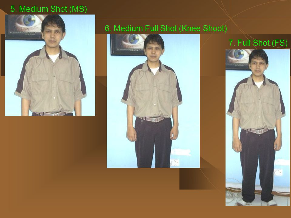 5. Medium Shot (MS) 6. Medium Full Shot (Knee Shoot) 7. Full Shot (FS)
