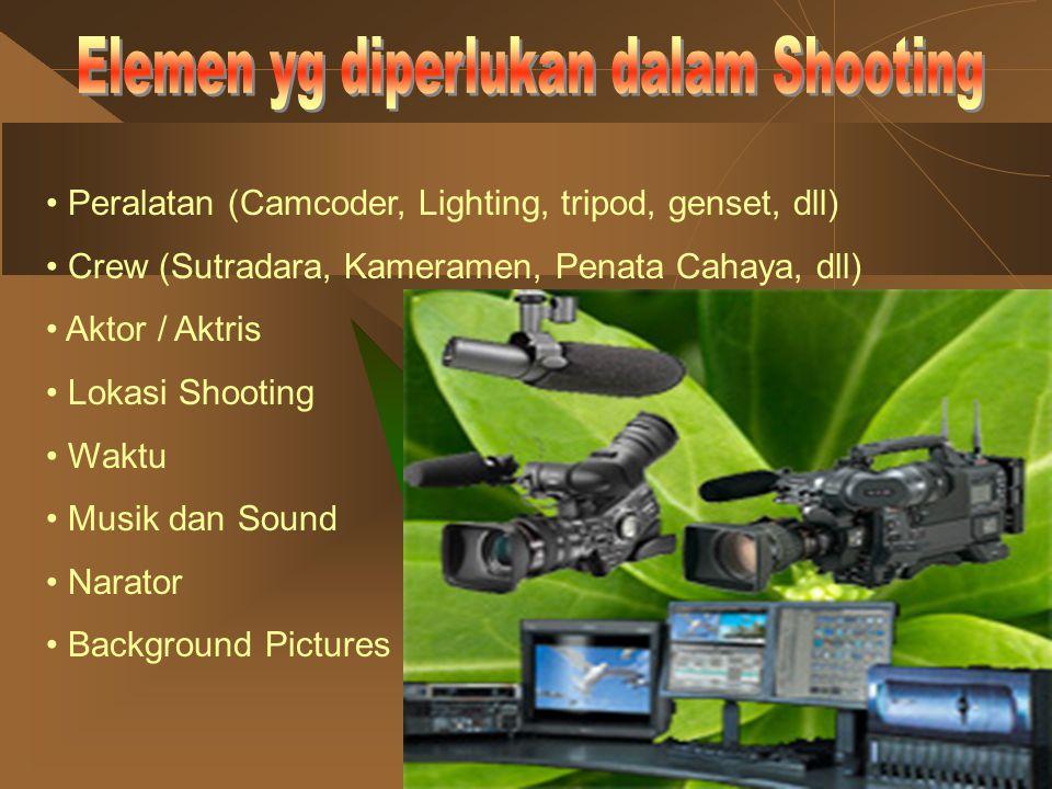 Peralatan (Camcoder, Lighting, tripod, genset, dll) Crew (Sutradara, Kameramen, Penata Cahaya, dll) Aktor / Aktris Lokasi Shooting Waktu Musik dan Sou