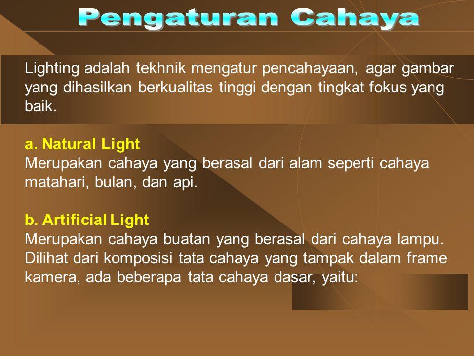 Lighting adalah tekhnik mengatur pencahayaan, agar gambar yang dihasilkan berkualitas tinggi dengan tingkat fokus yang baik. a. Natural Light Merupaka