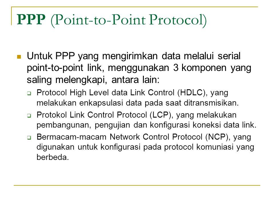 PPP (Point-to-Point Protocol) Untuk PPP yang mengirimkan data melalui serial point-to-point link, menggunakan 3 komponen yang saling melengkapi, antar