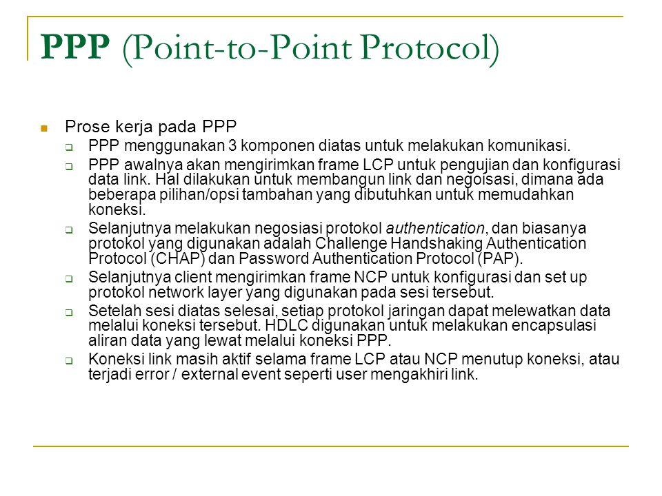 PPP (Point-to-Point Protocol) Prose kerja pada PPP  PPP menggunakan 3 komponen diatas untuk melakukan komunikasi.  PPP awalnya akan mengirimkan fram