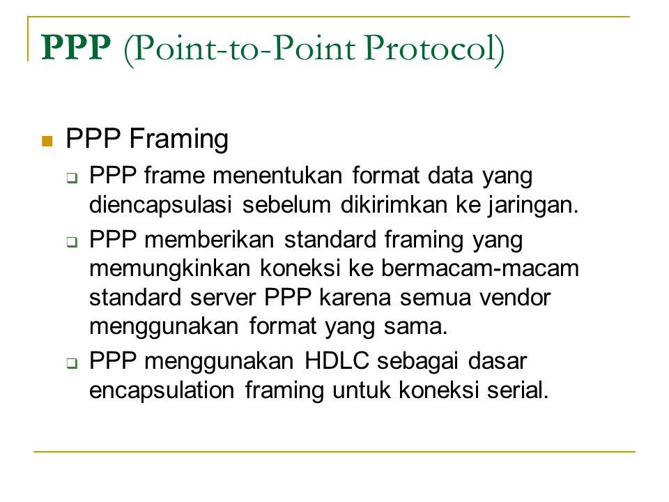 PPP (Point-to-Point Protocol) PPP Framing  PPP frame menentukan format data yang diencapsulasi sebelum dikirimkan ke jaringan.  PPP memberikan stand