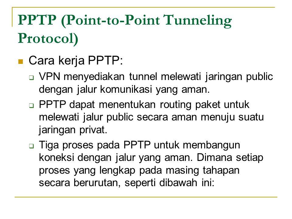 PPTP (Point-to-Point Tunneling Protocol) Cara kerja PPTP:  VPN menyediakan tunnel melewati jaringan public dengan jalur komunikasi yang aman.  PPTP