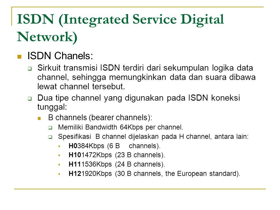 ISDN (Integrated Service Digital Network) ISDN Chanels:  Sirkuit transmisi ISDN terdiri dari sekumpulan logika data channel, sehingga memungkinkan da