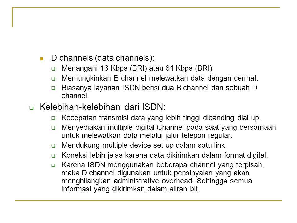 D channels (data channels):  Menangani 16 Kbps (BRI) atau 64 Kbps (BRI)  Memungkinkan B channel melewatkan data dengan cermat.  Biasanya layanan IS