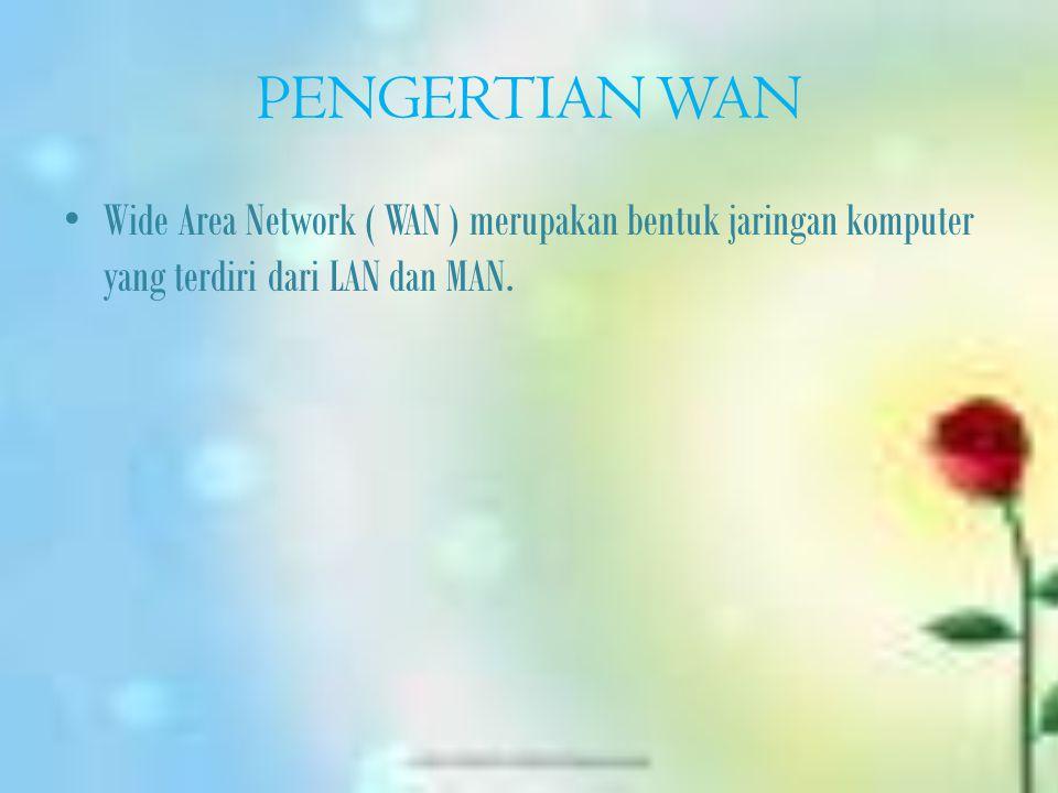 PENGERTIAN WAN Wide Area Network ( WAN ) merupakan bentuk jaringan komputer yang terdiri dari LAN dan MAN.