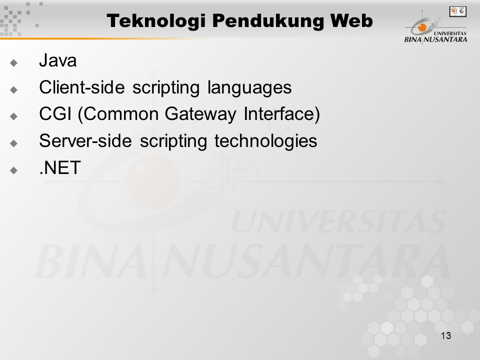 13 Teknologi Pendukung Web  Java  Client-side scripting languages  CGI (Common Gateway Interface)  Server-side scripting technologies .NET