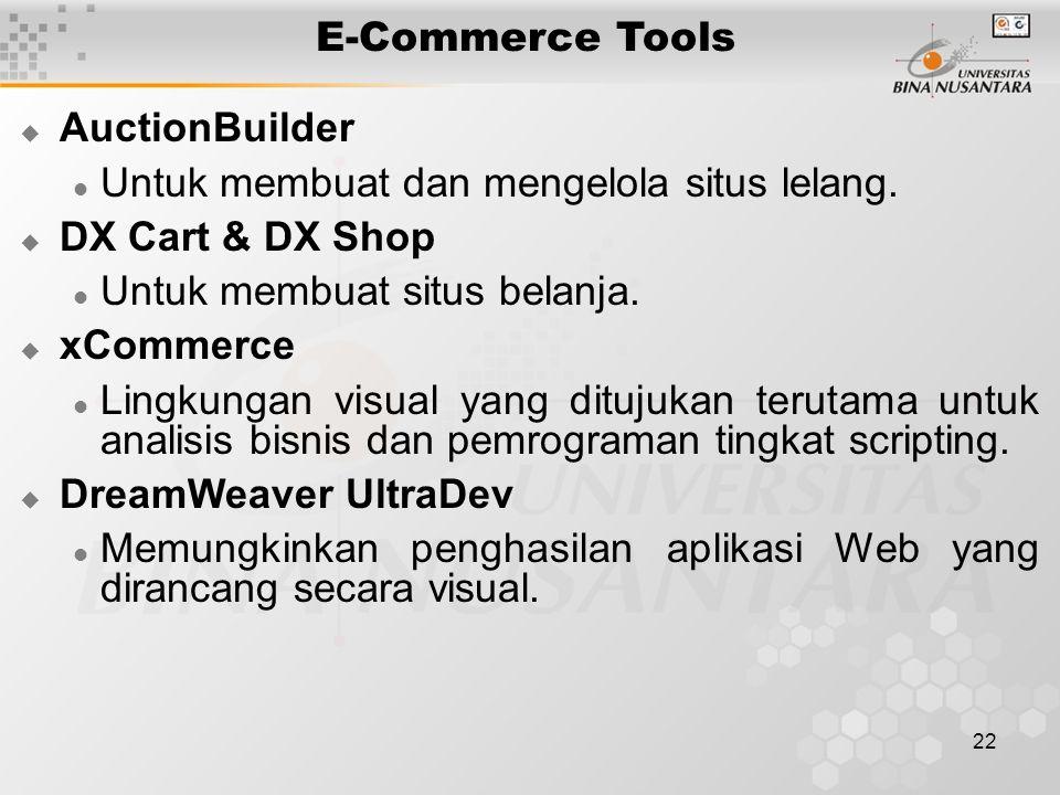 22 E-Commerce Tools  AuctionBuilder Untuk membuat dan mengelola situs lelang.  DX Cart & DX Shop Untuk membuat situs belanja.  xCommerce Lingkungan