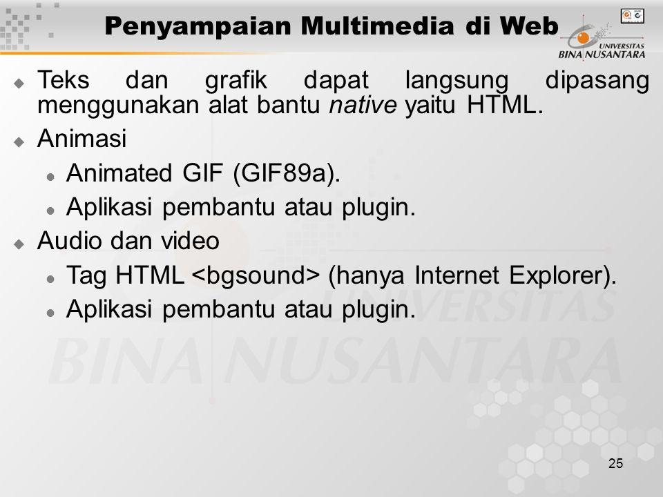 25 Penyampaian Multimedia di Web  Teks dan grafik dapat langsung dipasang menggunakan alat bantu native yaitu HTML.  Animasi Animated GIF (GIF89a).